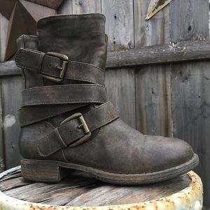 CROWN VINTAGE Ronnie Low Moto Combat Boots 5